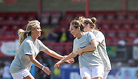 Celebrations after the first goal during the 'Greatest Show on Turf' Celebrity Event - Once in a Blue Moon Events at the London Borough of Barking and Dagenham Stadium, London, England on 8 May 2016. Photo by Andy Rowland.
