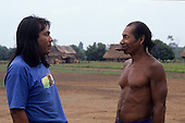 A-Ukre village, Brazil. Paulinho Payakan (Bep Koroti Kayapo), international figurehead for the Kayapo, in his village.