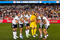 "The ""Jersey Girls"" United States (USA) midfielders Heather O'Reilly (9), Carli Lloyd (10), Yael Averbuch (16), goalkeeper Jill Loyden (21), defender Christie Rampone (3), and midfielder Tobin Heath (17) pose for a photo after the match. The women's national team of the United States defeated the Korea Republic 5-0 during an international friendly at Red Bull Arena in Harrison, NJ, on June 20, 2013."