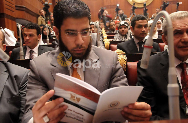 Nader Bakkar the assistant of Salafist Nour Party chief attends a meeting of Egypt's constituent assembly Chairman Amr Moussa with students of Economics and Political Science, at the Shura Council, in Cairo on 18 December 2013. Photo by Mohammed Bendari