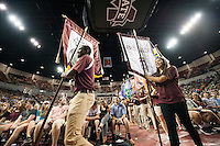 An estimated 3,700 first-year freshmen and 1,800 transfer students gathered Tuesday [Aug. 16] for MSU's third Fall Convocation in Humphrey Coliseum. The author of the university&rsquo;s 2016 Maroon Edition common reading experience selection, &ldquo;Three Little Words: A Memoir,&rdquo; Ashley Rhodes-Courter shared words of encouragement and life lessons during a keynote speech. MSU President Mark E. Keenum, Provost and Executive Vice President Judy Bonner, Robert Holland Faculty Senate President Cody Coyne, along with Student Association President Roxanne L. &ldquo;Roxie&rdquo; Raven, officially welcomed the university&rsquo;s new students to the Bulldog family.<br />
