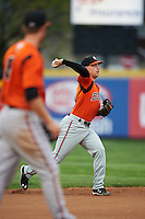 Bowie Baysox shortstop Jeff Kemp (4) during a game against the Erie SeaWolves on May 12, 2016 at Jerry Uht Park in Erie, Pennsylvania.  Bowie defeated Erie 6-5.  (Mike Janes/Four Seam Images)