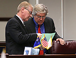Nevada Senate Democrats David Parks, left, and Tick Segerblom work on the Senate floor at the Legislative Building in Carson City, Nev., on Tuesday, April 14, 2015.<br /> Photo by Cathleen Allison