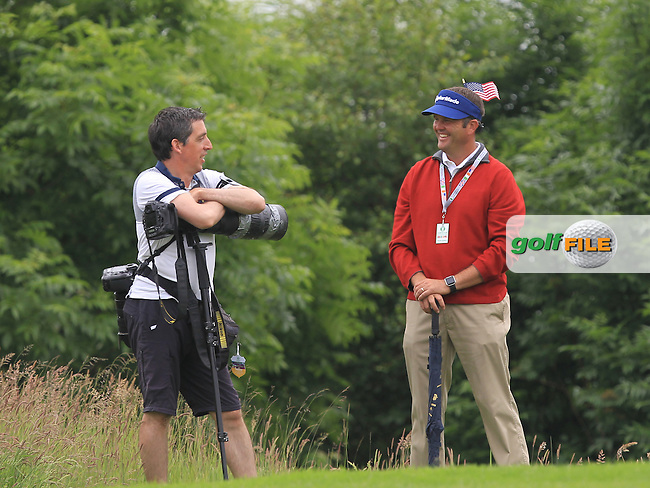 Chatting with a photographer during the Friday afternoon Fourballs of the 2016 Curtis Cup at Dun Laoghaire Golf Club on Friday 10th June 2016.<br /> Picture:  Golffile | Thos Caffrey