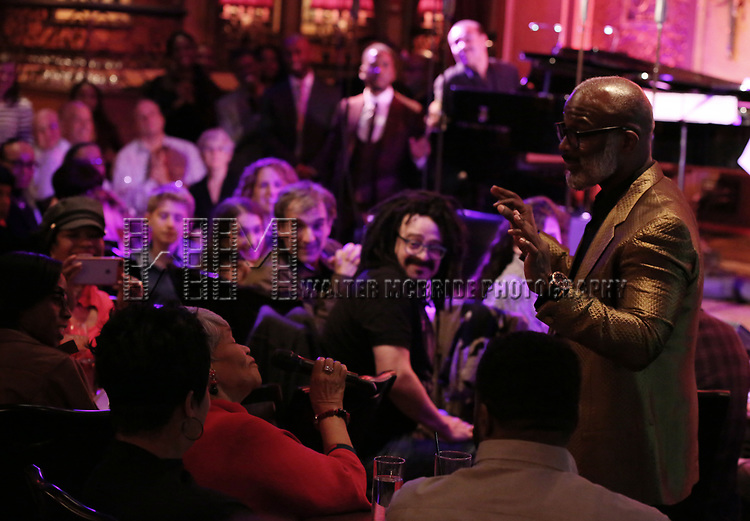 """BeBe Winans and mom on stage during a Song preview performance of the BeBe Winans Broadway Bound Musical """"Born For This"""" at Feinstein's 54 Below on November 5, 2018 in New York City."""