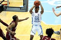 CHAPEL HILL, NC - FEBRUARY 1: Christian Keeling #55 of the University of North Carolina shoots the ball during a game between Boston College and North Carolina at Dean E. Smith Center on February 1, 2020 in Chapel Hill, North Carolina.