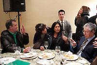 Vicenza: Roberto Calderoli, Rosi Mauro, Umberto Bossi e Renzo Bossi durante il pranzo nella villa palladiana La Favorita per la presentazione del parlamento padano.