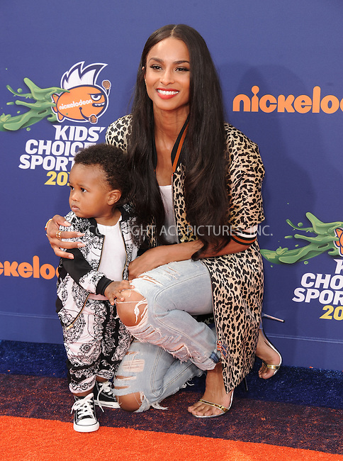 WWW.ACEPIXS.COM<br /> <br /> July 16 2015, LA<br /> <br /> Recording artist Ciara and her son Future Zahir Wilburn arriving at the Nickelodeon Kids' Choice Sports Awards 2015 at UCLA's Pauley Pavilion on July 16, 2015 in Westwood, California.<br /> <br /> By Line: Peter West/ACE Pictures<br /> <br /> <br /> ACE Pictures, Inc.<br /> tel: 646 769 0430<br /> Email: info@acepixs.com<br /> www.acepixs.com