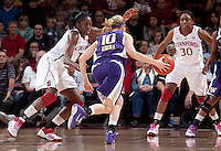 STANFORD, CA - February 12, 2011: Chiney Ogwumike of the Stanford Cardinal women's basketball team guards during Stanford's 62-52 win over Washington at Maples Pavilion.
