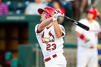 Ryan Jackson (23) of the Springfield Cardinals follows through his swing during a game against the Northwest Arkansas Naturals at Hammons Field on August 1, 2011 in Springfield, Missouri. Springfield defeated Northwest Arkansas 7-1. (David Welker / Four Seam Images)
