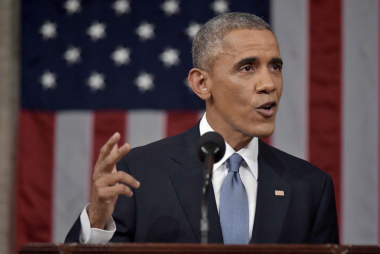 US President Barack Obama delivers the State of The Union address on January 20, 2015, at the US Capitol in Washington, DC. <br /> Credit: Mandel Ngan / Pool