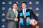 16 January 2014: JJ Koval, with head coach Mark Watson (left), was selected with the ninth overall pick by the San Jose Earthquakes. The 2014 Major League Soccer SuperDraft was held at the NSCAA Annual Convention in the Pennsylvania Convention Center in Philadelphia, Pennsylvania.