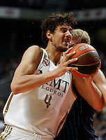 22.04.2012 SPAIN - ACB match played between Real Madrid vs Estudiantes at Palacio de los deportes stadium. The picture show Ante Tomic (Croatian center of Real Madrid)