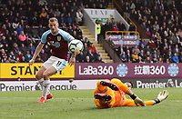 Cardiff City's goalkeeper Neil Etheridge fails to prevent a crossed ball from Burnley's Dwight McNeil (not pictured) reaching Chris Wood to score his sides second goal<br /> <br /> Photographer Rich Linley/CameraSport<br /> <br /> The Premier League - Saturday 13th April 2019 - Burnley v Cardiff City - Turf Moor - Burnley<br /> <br /> World Copyright © 2019 CameraSport. All rights reserved. 43 Linden Ave. Countesthorpe. Leicester. England. LE8 5PG - Tel: +44 (0) 116 277 4147 - admin@camerasport.com - www.camerasport.com