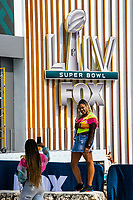 MIAMI, USA - January 24: People take pictures near the Super Bowl XLIV fan zone on January 24, 2020 in Miami Beach, USA.  The Super Bowl XLIV will take place in the Hard Rock Stadium in Miami between the teams 49ers vs. Chiefs, and it will be played on Sunday, Feb. 2, 2020. (Photo by VIEWpress)