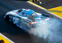 Aug 17, 2019; Brainerd, MN, USA; NHRA funny car driver John Force during qualifying for the Lucas Oil Nationals at Brainerd International Raceway. Mandatory Credit: Mark J. Rebilas-USA TODAY Sports