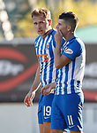06.10.18 Dundee v Kilmarnock: Jordan Jones covers his mouth as he talks to Greg Stewart after penalty award