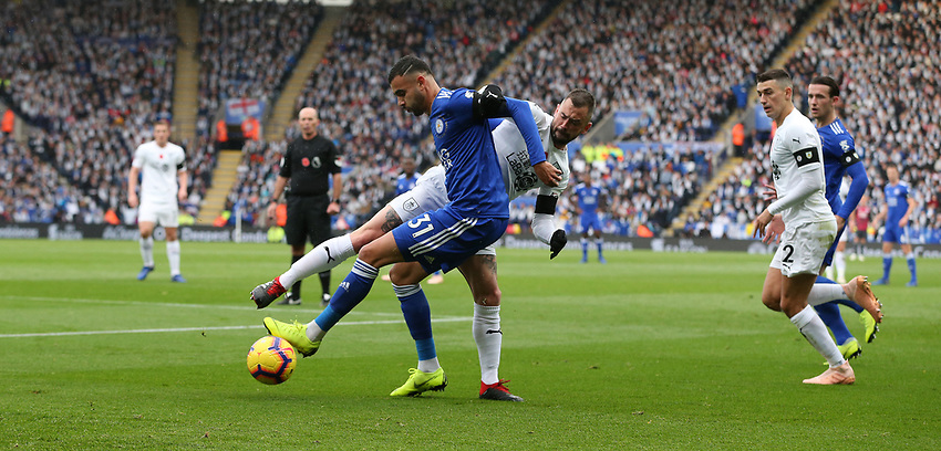 Leicester City's Rachid Ghezzal shields the ball from Burnley's Steven Defour<br /> <br /> Photographer Stephen White/CameraSport<br /> <br /> The Premier League - Saturday 10th November 2018 - Leicester City v Burnley - King Power Stadium - Leicester<br /> <br /> World Copyright © 2018 CameraSport. All rights reserved. 43 Linden Ave. Countesthorpe. Leicester. England. LE8 5PG - Tel: +44 (0) 116 277 4147 - admin@camerasport.com - www.camerasport.com