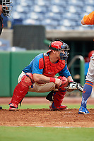 Clearwater Threshers catcher Wilson Ramos (25) during a game against the St. Lucie Mets on August 11, 2018 at Spectrum Field in Clearwater, Florida.  St. Lucie defeated Clearwater 11-0.  (Mike Janes/Four Seam Images)