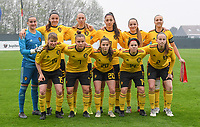 20190409 - TUBIZE , Belgium : Belgian team with Femke Bastiaen (1) , Sari Kees (2) , Romy Camps (3) , Ella Vierendeels (5) , Karlijn Knapen (7) , Amber Tysiak (8) , Lisa Petry (9) , Janne Geers (11) , Kaily Dhondt (14) , Aster Janssens (15) and Constance Brackman (20) pictured posing for the teampicture during a  game between the under 19 teams of Belgium and Poland. This is the Third and final game in their elite round qualification for the European Championship in Schotland 2019. The Belgian national women's soccer team is called the Red Flames, on the 9 th of April in Tubize. PHOTO DAVID CATRY | Sportpix.be