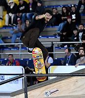 BOGOTA - COLOMBIA - 13 - 08 - 2017: Sebastian Gonzalez, Skater de Colombia, durante competencia en el Primer Campeonato Panamericano de Skateboarding, que se realiza en el Palacio de los Deportes en la Ciudad de Bogota. / Sebastian Gonzalez, Skater from Colombia, during a competitions in the First Pan American Championship of Skateboarding, that takes place in the Palace of Sports in the City of Bogota. Photo: VizzorImage / Luis Ramirez / Staff.