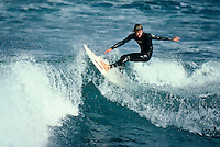1978 World Surfing Champion Wayne Rabbit Bartholomew (AUS) surfing at Bells Beach, Torquay, Victoria, Australia in 1980. Photo: joliphotos.com