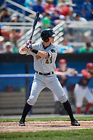 West Virginia Black Bears left fielder Jared Oliva (43) at bat during a game against the Batavia Muckdogs on June 25, 2017 at Dwyer Stadium in Batavia, New York.  West Virginia defeated Batavia 6-4 in the completion of the game started on June 24th.  (Mike Janes/Four Seam Images)