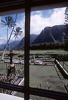 Father Damien's tombstone seen through the window of the St. Philomena Church on the Hawaiian island of Molokai in 1995.