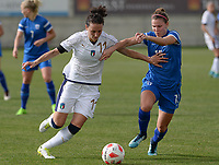 20180305 - LARNACA , CYPRUS : Italian Ilaria Mauro (left) pictured in a duel with Finnish Natalia Kuikka (right) during a women's soccer game between Finland and Italy , on monday 5 March 2018 at the AEK Arena in Larnaca , Cyprus . This is the third game in group A for Finland and Italy during the Cyprus Womens Cup , a prestigious women soccer tournament as a preparation on the World Cup 2019 qualification duels. PHOTO SPORTPIX.BE | DAVID CATRY