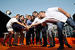 Center-right party Ciudadanos leader and party candidate, Albert Rivera with his team during the party final campaign meeting on Isabel II Square in Madrid ahead of the June 26 general election. June 24,2015. (ALTERPHOTOS/Acero)