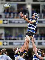Leroy Houston of Bath Rugby rises high to win lineout ball. Aviva Premiership match, between Bath Rugby and Northampton Saints on December 5, 2015 at the Recreation Ground in Bath, England. Photo by: Patrick Khachfe / Onside Images