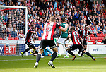 Billy Sharp of Sheffield Utd turns to celebrate scoring the winning goal during the English Championship League match at Bramall Lane Stadium, Sheffield. Picture date: August 5th 2017. Pic credit should read: Simon Bellis/Sportimage