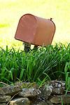 Old red rural mailbox. Morgan Valley Road, PA.