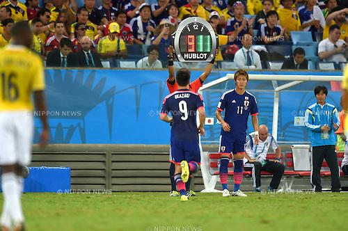 Shinji Okazaki, Yoichiro Kakitani (JPN),<br /> JUNE 24, 2014 - Football /Soccer : FIFA World Cup Brazil 2014 Group C match between Japan and Colombia at Arena Pantanal in Cuiaba, Brazil. <br /> (Photo by FAR EAST PRESS/AFLO)