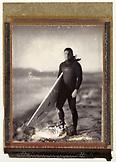 USA, California, vintage shot of man holding surfboard, Ocean Beach, San Francisco (B&W)