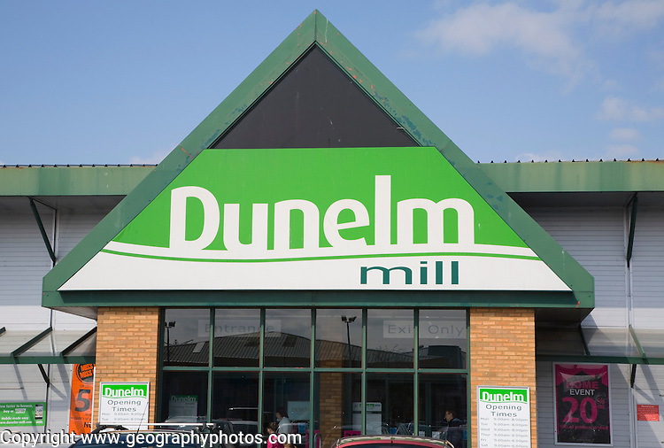 Dunelm Mill store front sign, Ipswich, England