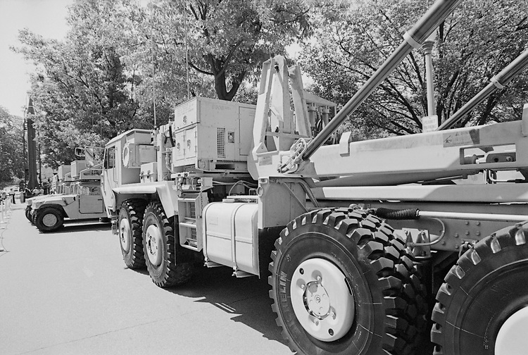 Missile truck during defense press briefing in April, 1998. (Photo by Rebecca Roth/CQ Roll Call via Getty Images)