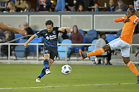San Jose, CA - Saturday April 14, 2018: Jahmir Hyka during a Major League Soccer (MLS) match between the San Jose Earthquakes and the Houston Dynamo at Avaya Stadium.