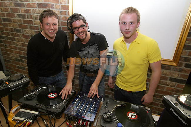 Paul McElroy, Stephen Downes and Donal O'Dowd, Milk DJs at the party in Unit 1...Photo NEWSFILE/Jenny Matthews.(Photo credit should read Jenny Matthews/NEWSFILE)....This Picture has been sent you under the condtions enclosed by:.Newsfile Ltd..The Studio,.Millmount Abbey,.Drogheda,.Co Meath..Ireland..Tel: +353(0)41-9871240.Fax: +353(0)41-9871260.GSM: +353(0)86-2500958.email: pictures@newsfile.ie.www.newsfile.ie.FTP: 193.120.102.198.