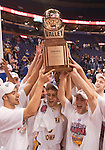 March 08 2009    Members of the Northern Iowa team hold aloft the Missouri Valley Conference Tournament trophy.   The Panthers of the University of Northern Iowa defeated the Redbirds of Illinois State University 60-57 in overtime in the championship game of the Missouri Valley Conference Tournament on Sunday March 8, 2009 at the Scottrade Center in downtown St. Louis, Missouri.   ..         *******EDITORIAL USE ONLY*******