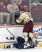 Austin Wuthrich (ND - 27), Steven Santini (BC - 6) - The visiting University of Notre Dame Fighting Irish defeated the Boston College Eagles 2-1 in overtime on Saturday, March 1, 2014, at Kelley Rink in Conte Forum in Chestnut Hill, Massachusetts.
