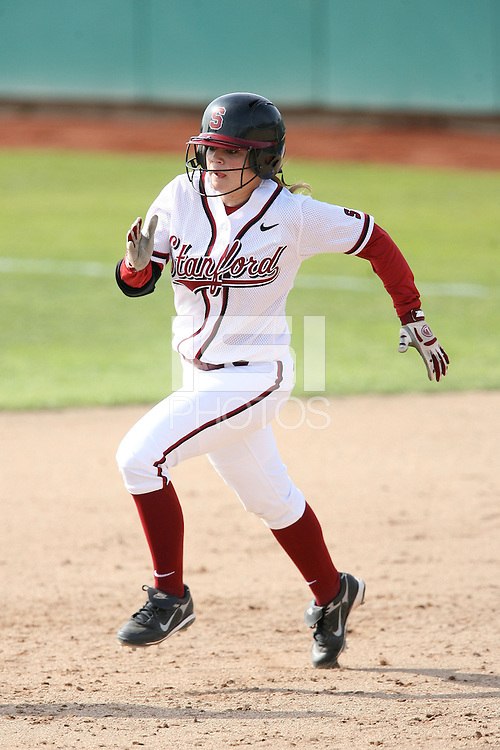 STANFORD, CA - FEBRUARY 20:  Infielder Ashley Hansen #3 of the Stanford Cardinal during Stanford's 6-1 win against the Sacramento State Hornet on February 20, 2009 at Boyd and Jill Smith Family Stadium in Stanford, California.