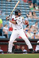 Nashville Sounds first baseman Sean Halton (44) at bat during the first game of a double header against the Omaha Storm Chasers on May 21, 2014 at Herschel Greer Stadium in Nashville, Tennessee.  Nashville defeated Omaha 5-4.  (Mike Janes/Four Seam Images)