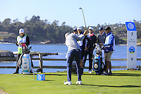 Dustin Johnson (USA) tees off the 7th tee at Pebble Beach Golf Links during Saturday's Round 3 of the 2017 AT&amp;T Pebble Beach Pro-Am held over 3 courses, Pebble Beach, Spyglass Hill and Monterey Penninsula Country Club, Monterey, California, USA. 11th February 2017.<br /> Picture: Eoin Clarke | Golffile<br /> <br /> <br /> All photos usage must carry mandatory copyright credit (&copy; Golffile | Eoin Clarke)