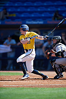 Michigan Wolverines shortstop Jack Blomgren (18) at bat during a game against Army West Point on February 17, 2018 at Tradition Field in St. Lucie, Florida.  Army defeated Michigan 4-3.  (Mike Janes/Four Seam Images)