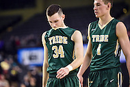 Baltimore, MD - William & Mary Tribe guard David Cohn (34) is upset following a three point loss in the semi finals to Hofstra Pride during the CAA Basketball Tournament at the Royal Farms Arena in Baltimore, Maryland on March 6, 2016.  (Photo by Philip Peters/Media Images International)