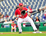 24 April 2010: Washington Nationals' first baseman Adam Dunn in action against the Los Angeles Dodgers at Nationals Park in Washington, DC. The Dodgers edged out the Nationals 4-3 in a thirteen inning game. Mandatory Credit: Ed Wolfstein Photo