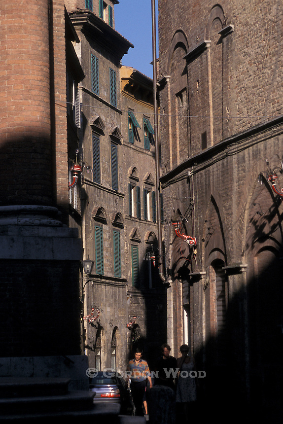 Evening Street Scene in Siena, Tuscany, Italy