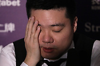 12th January 2020, Alexandra palace, London, United Kingdom; Ding Junhui of China is interviewed after losing the round 1 match between Ding Junhui of China and Joe Perry of England at Snooker Masters 2020 at the Alexandra Palace . Perry won 6 frames to 3.