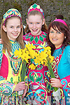 DANCERS: Muire OMahony, Naomi OConnell and Niamh OSullivan from the Margaret OLeary School of Dancing Killarney jigging in the St. Patricks Day Parade on Saturday in Killarney..